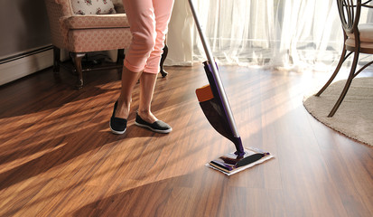 Mop for cleaning wooden floor from dust