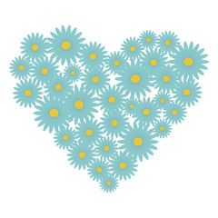 A heart shape made with light blue daisy flowers