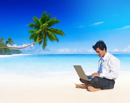Businessman Holidays Vacation Working Summer Beach Concept