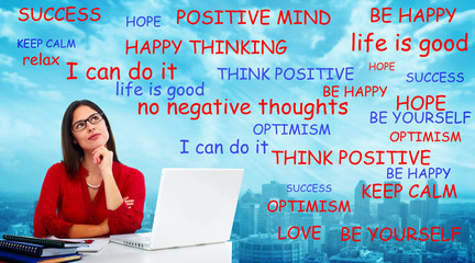 Positive thinking woman.