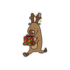 Christmas reindeer carry gift