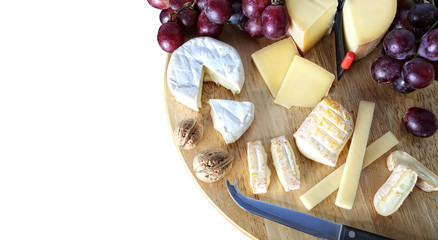 gourmet cheese board on a white background