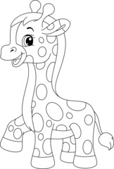 Little giraffe coloring page