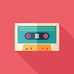 Audio cassette flat square icon with long shadows.