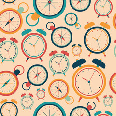 Seamless pattern with retro alarm clocks and pocket watches.
