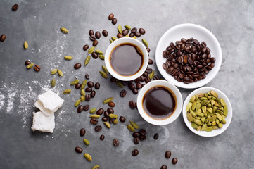 Turkish Coffee with coffee beans and Cardamom