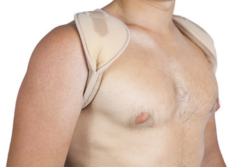 bandage for the shoulders to the young man
