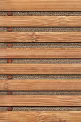 Bamboo Place Mat Grunge Texture On Linen Canvas Background Detai