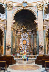 The altar of the old church in Rome