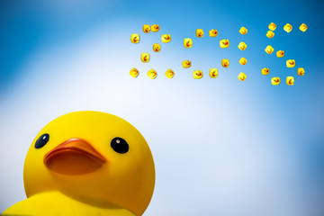 Happiness yellow rubber duck amd blue sky,happy new year 2015