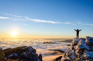 hiker celebrating success