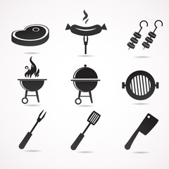Barbecue vector icon set.