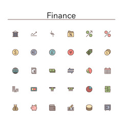 Finance Colored Line Icons