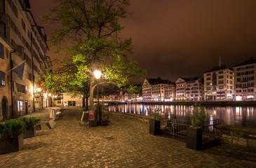 Swiss city Zurich in the night