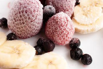 Closeup of frozen fruits