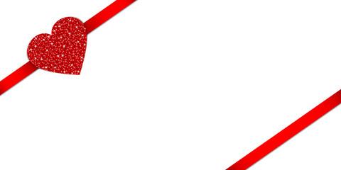 Red Heart Glitter Ribbon Diagonal