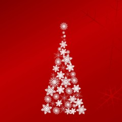 White vector Christmas tree on bright red background