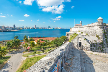 Poster Havana The fortress of El Morro in Havana and the city skyline