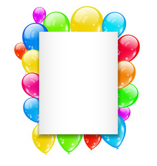 Birthday card with colorful balloons with space for text