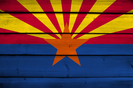 Arizona State Flag on wood background
