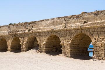 Ancient roman Aqueduct in Ceasarea, Israel