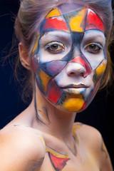 circus color face art woman close up portrait