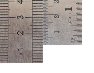 Stainless steel ruler isolated on white background