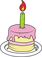 Birthday cake with candle vector illustration