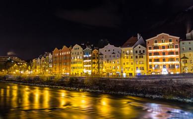The embankment of Innsbruck at night - Austria