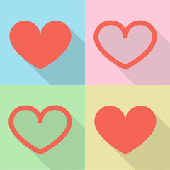 Heart set Icon Vector  Color Variations Valentine's Day, love