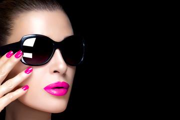 Fashion Model Woman in Black Oversized Sunglasses. Colorful Make