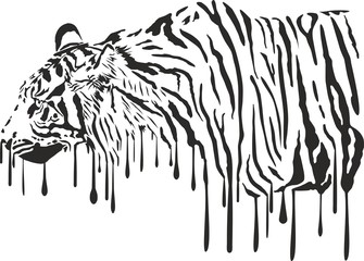Tiger, abstract painting on a white background
