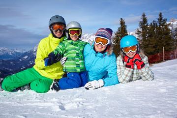 Skiers, sun and fun