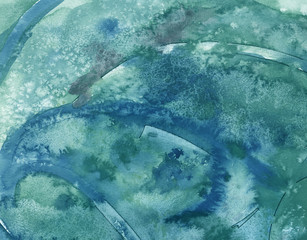 Cool blue watercolor atmosphere art background texture splashes