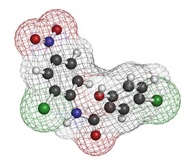 Niclosamide tapeworm drug molecule (anthelmintic).