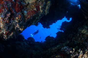 Diver at Mouth of Underwater Cavern