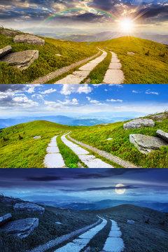 road on a hillside near mountain peak