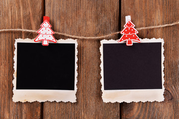 Blank photo frames and Christmas decor
