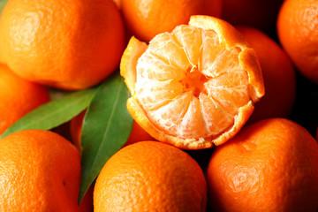 Fresh ripe mandarins background Fototapete