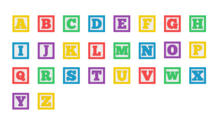 Colorful learning block alphabet isolated on a white background.
