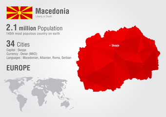 Wall Mural - Macedonia world map with a pixel diamond texture.