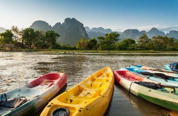 kayak boats in Nam Song river at Vang Vieng, Laos