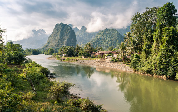 Landscape of Nam Song River at Vang Vieng, Laos