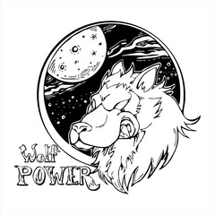 Wolf head with galaxy cartoon drawing logo vector