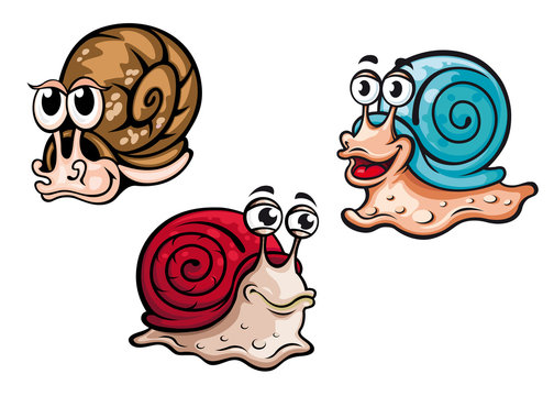 Smiling colorful cartoon snails