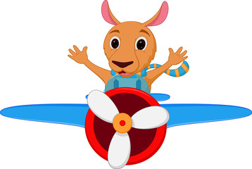 Kangaroo cartoon riding a plane