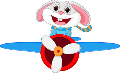 Rabbit cartoon riding a plane