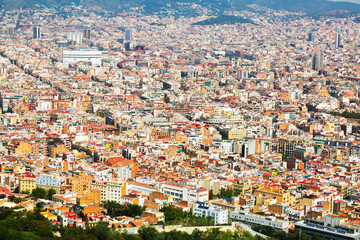 Aerial view of residential  district in european city. Barcelona