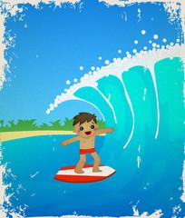 Retro card with cute cartoon surfer. Summer, sea, beach