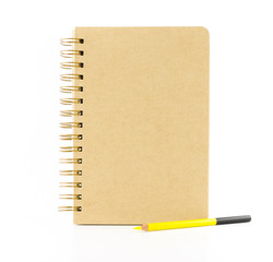 brown paper notebook with yellow pencil isolated on white backgr